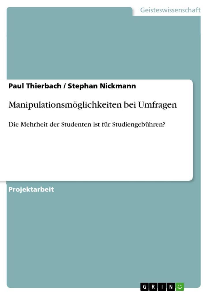 Manipulationsmöglichkeiten bei Umfragen als eBo...