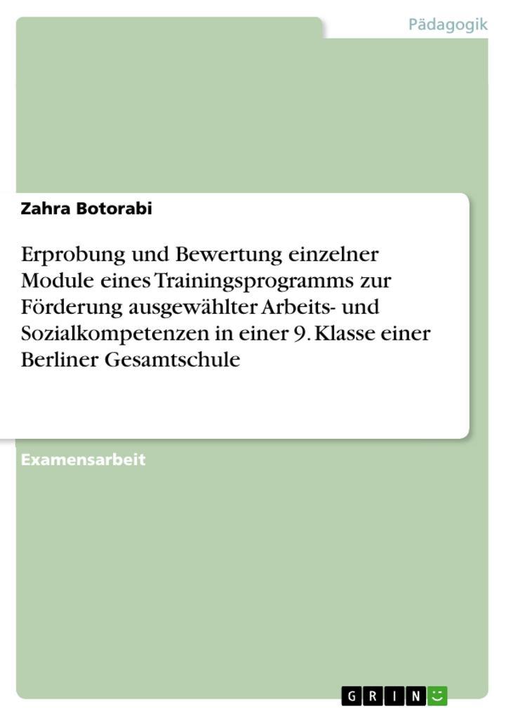 Erprobung und Bewertung einzelner Module eines Trainingsprogramms zur Förderung ausgewählter Arbeits- und Sozialkompetenzen in einer 9. Klasse ein... - Zahra Botorabi