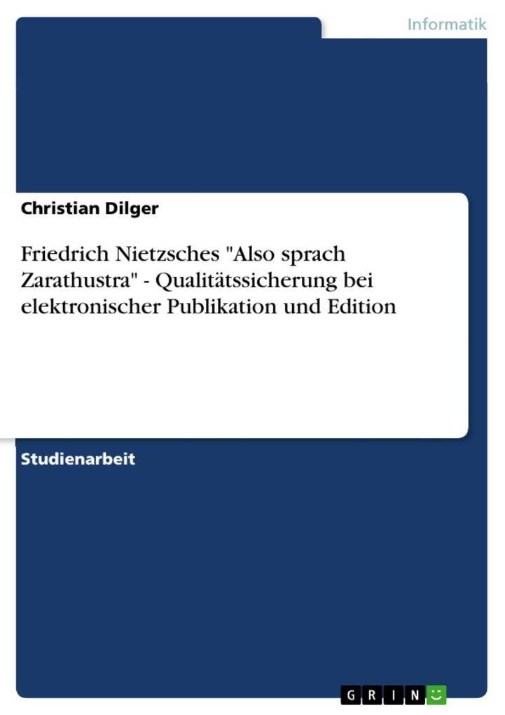 Friedrich Nietzsches Also sprach Zarathustra - ...