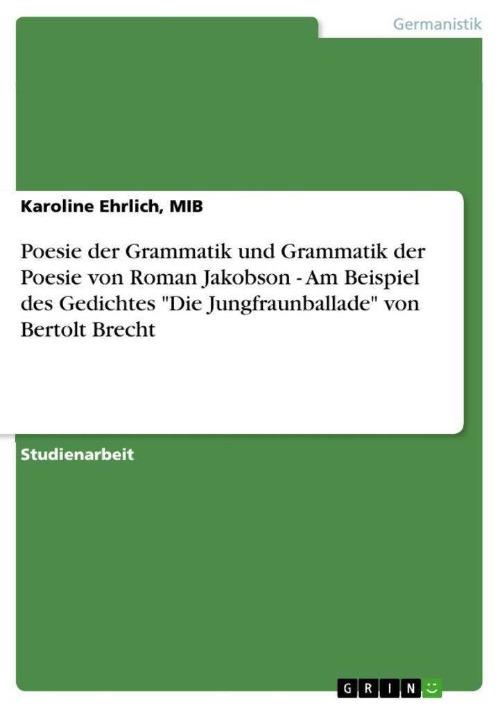 Poesie der Grammatik und Grammatik der Poesie v...