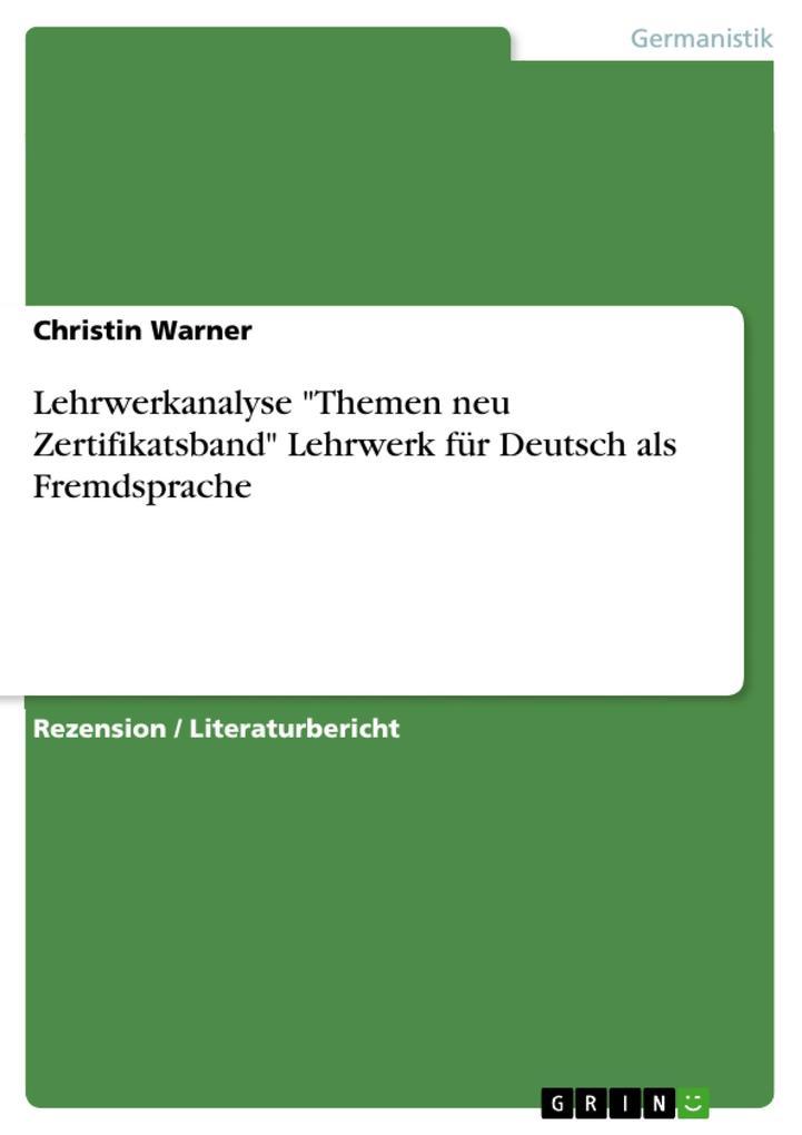 Lehrwerkanalyse Themen neu Zertifikatsband Lehr...