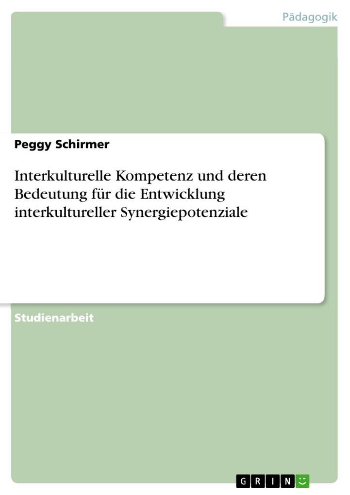 Interkulturelle Kompetenz und deren Bedeutung für die Entwicklung interkultureller Synergiepotenziale als eBook Download von Peggy Schirmer - Peggy Schirmer