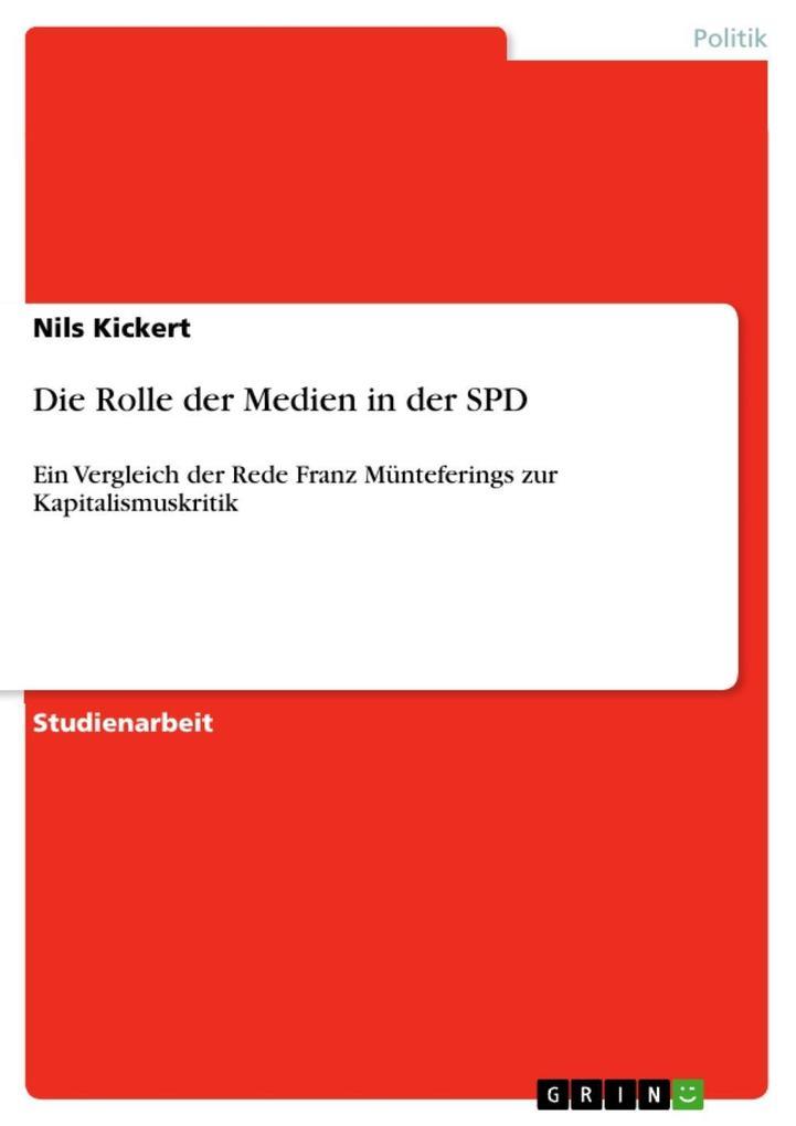 Die Rolle der Medien in der SPD als eBook Downl...