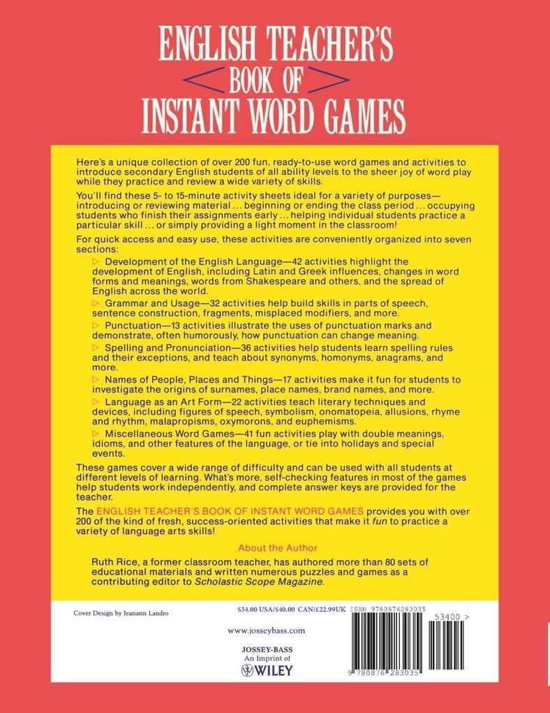English Teacher's Book of Instant Word Games als Taschenbuch
