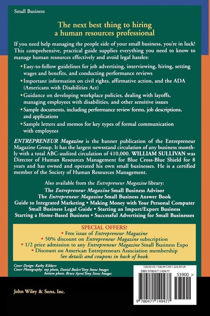 Entrepreneur Magazine: Human Resources for Small Businesses als Taschenbuch