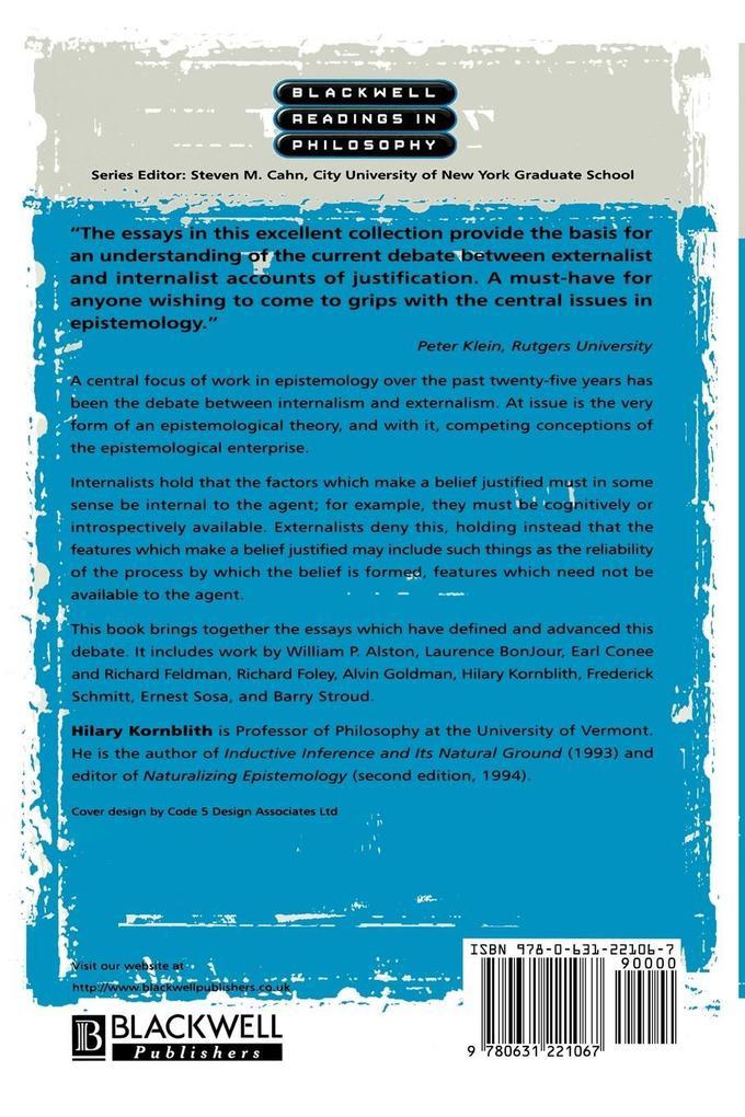 Epistemology: Internalism and Externalism als Taschenbuch
