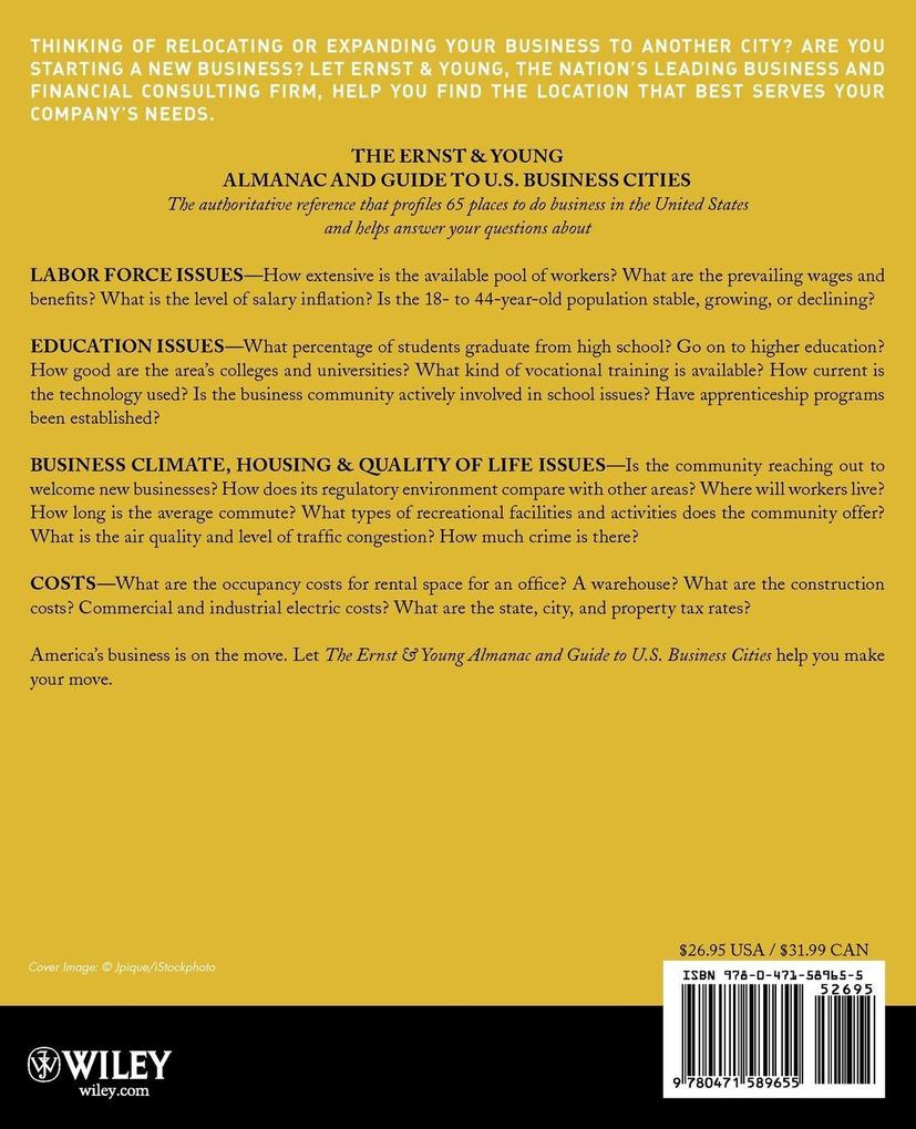 The Ernst & Young Almanac and Guide to U.S. Business Cities: 65 Leading Places to Do Business als Taschenbuch