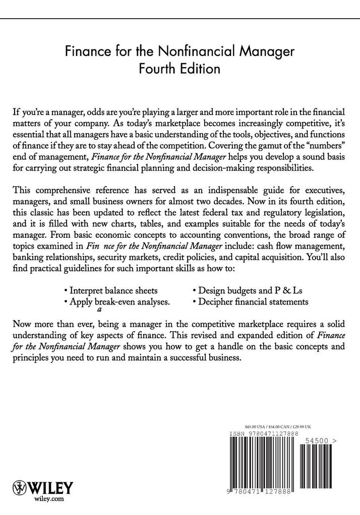 Finance for Non Financial Mgr 4e P als Taschenbuch