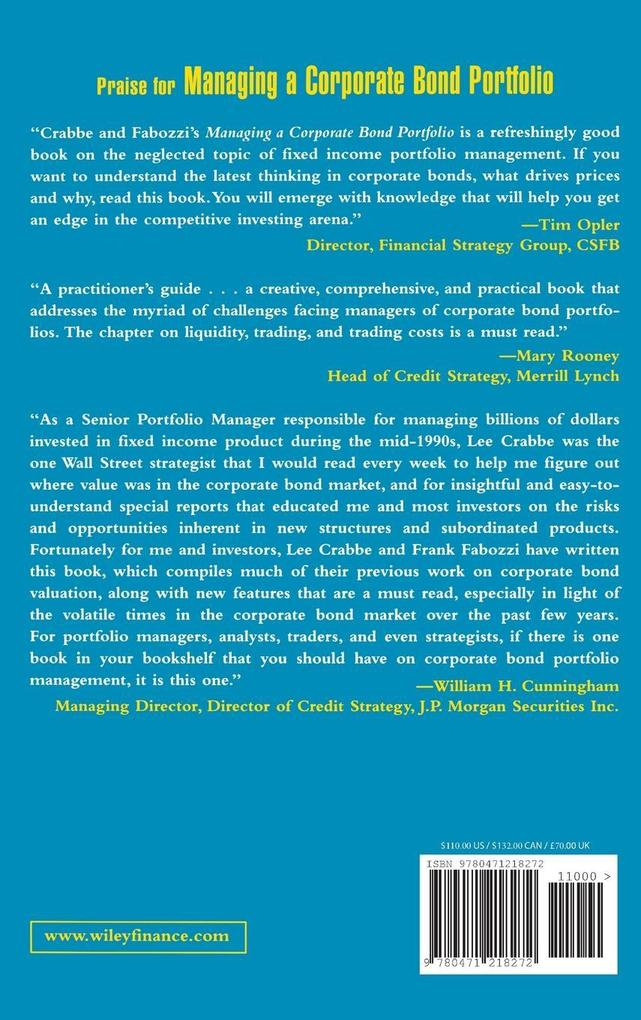 Managing a Corporate Bond Portfolio als Buch