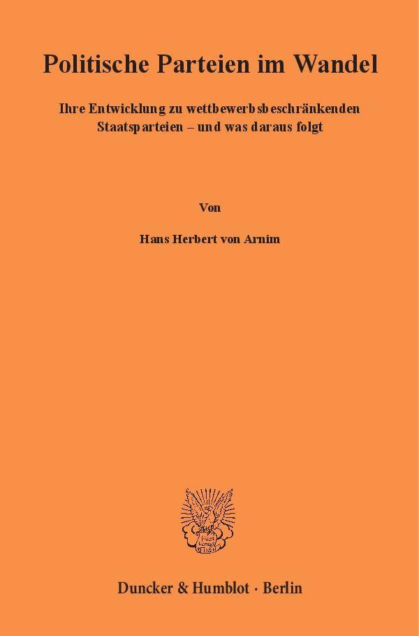 Politische Parteien im Wandel als Buch von Hans...