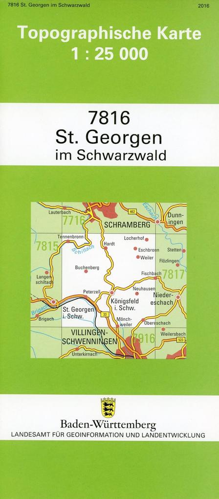 Topographische Karte Baden-Württemberg St. Geor...