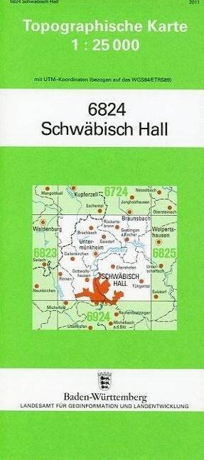 Topographische Karte Baden-Württemberg Schwäbis...