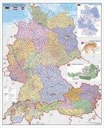 Deutschland-Österreich-Schweiz Postleitzahlen- und Organisationskarte. Poster