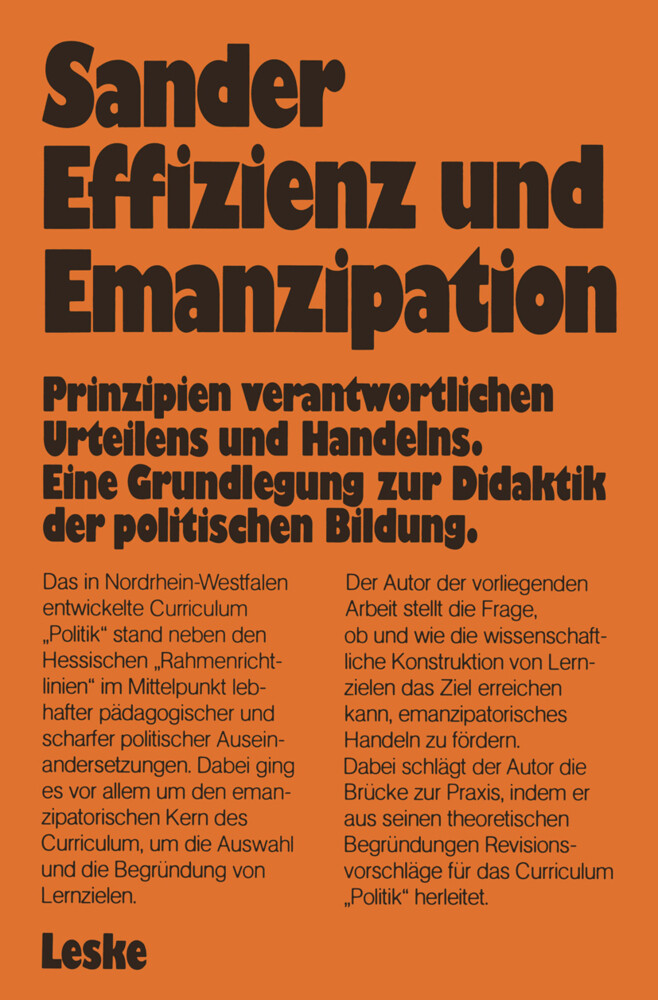 Effizienz und Emanzipation als Buch von Wolfgan...