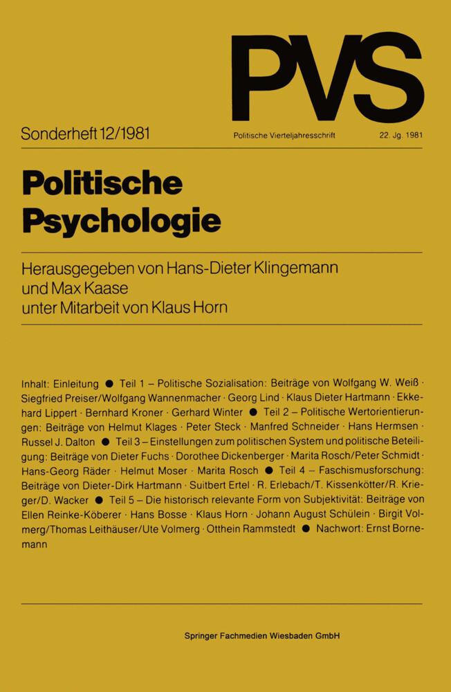 Politische Psychologie als Buch von Hans-Dieter...