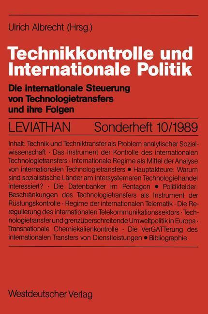 Technikkontrolle und Internationale Politik als...