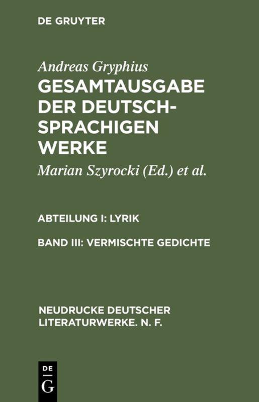 Vermischte Gedichte als Buch von Andreas Gryphius
