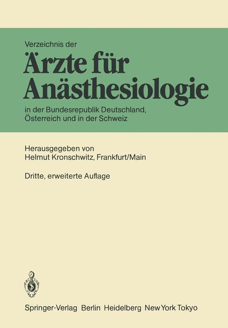 Verzeichnis der Ärzte für Anästhesiologie in de...