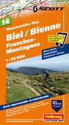 Mountainbike Map 14 Biel / Bienne, Franches-Montagnes 1 : 50 000