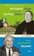 Abt Gabriel Dubau im Spaziergang mit Sir Peter Ustinov durch den Klostergarten Neuzelle