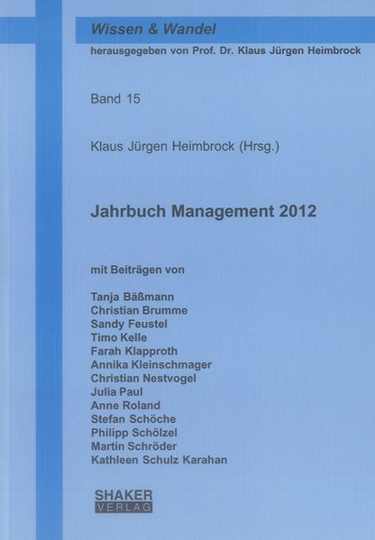 Jahrbuch Management 2012 als Buch von