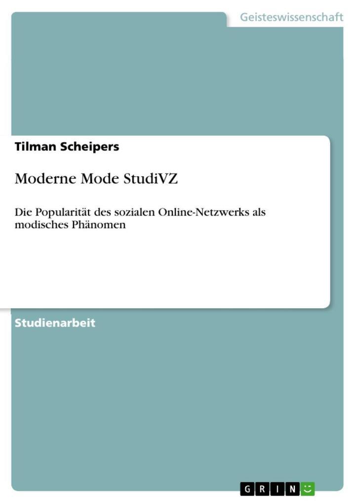 Moderne Mode StudiVZ als eBook Download von Til...