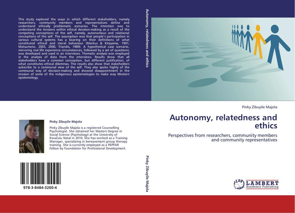Autonomy, relatedness and ethics als Buch von P...