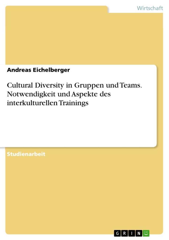 Cultural Diversity in Gruppen & Teams: Notwendi...