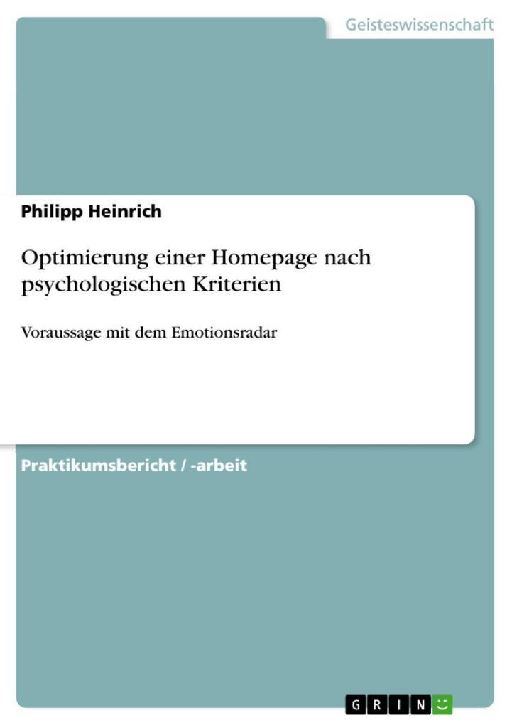 Optimierung einer Homepage nach psychologischen...