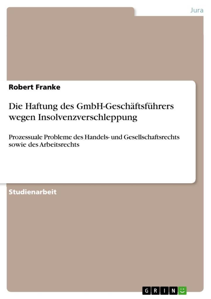 Die Haftung des GmbH-Geschäftsführers wegen Ins...