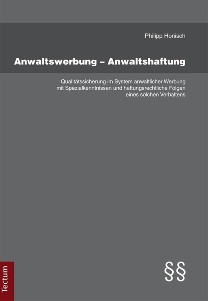 Anwaltswerbung - Anwaltshaftung als eBook Downl...