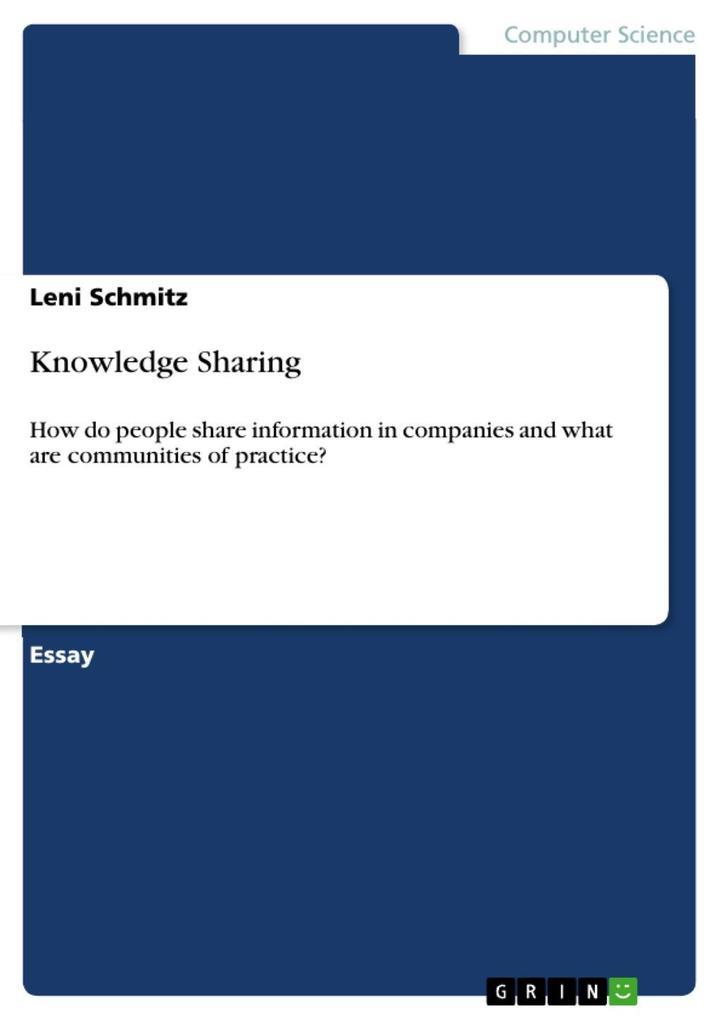 Knowledge Sharing als eBook Download von Leni S...