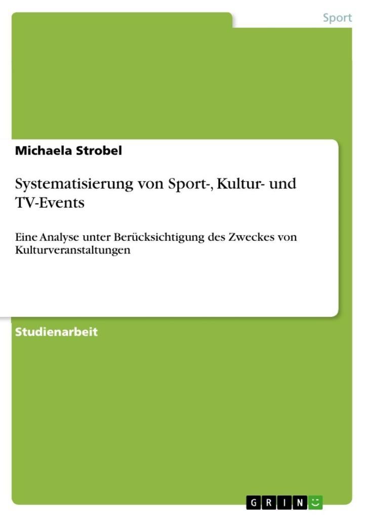 Systematisierung von Sport-, Kultur- und TV-Eve...