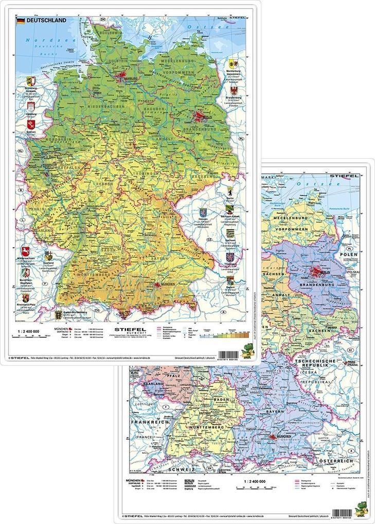 Deutschland physisch/politisch. DUO-Schreibunterlage klein als Sonstiger Artikel