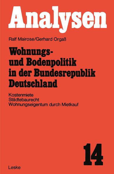 Wohnungs- und Bodenpolitik in der Bundesrepubli...