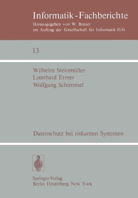 Datenschutz bei riskanten Systemen als Buch von...