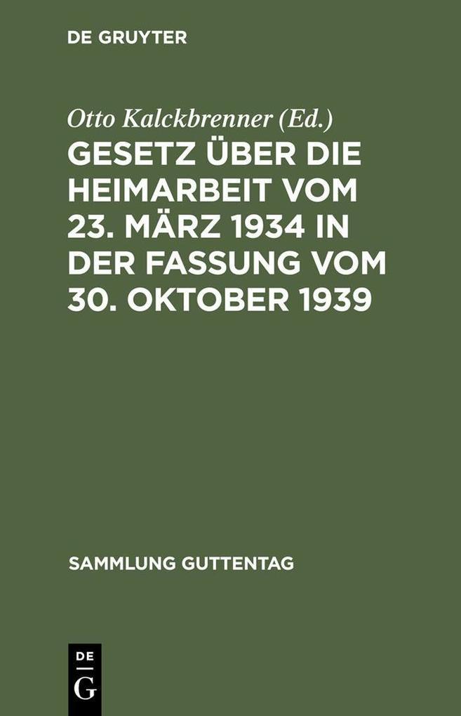 Gesetz uber die Heimarbeit vom 23. Marz 1934 in...