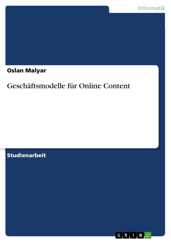 Geschäftsmodelle für Online Content als eBook D...