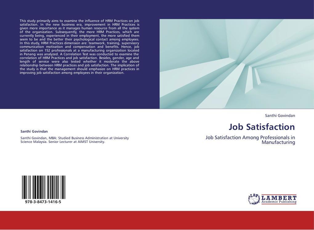 Job Satisfaction als Buch von Santhi Govindan