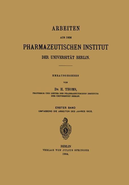 Arbeiten aus dem Pharmazeutischen Institut der ...