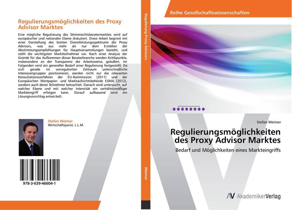 Regulierungsmöglichkeiten des Proxy Advisor Mar...