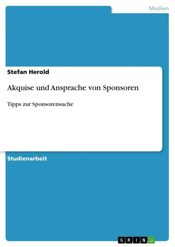 Akquise und Ansprache von Sponsoren als eBook D...