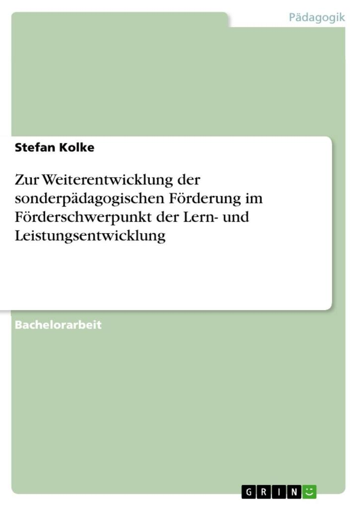 Zur Weiterentwicklung der sonderpädagogischen F...
