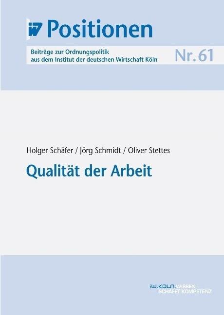 Qualität der Arbeit als Buch von Holger Schäfer...