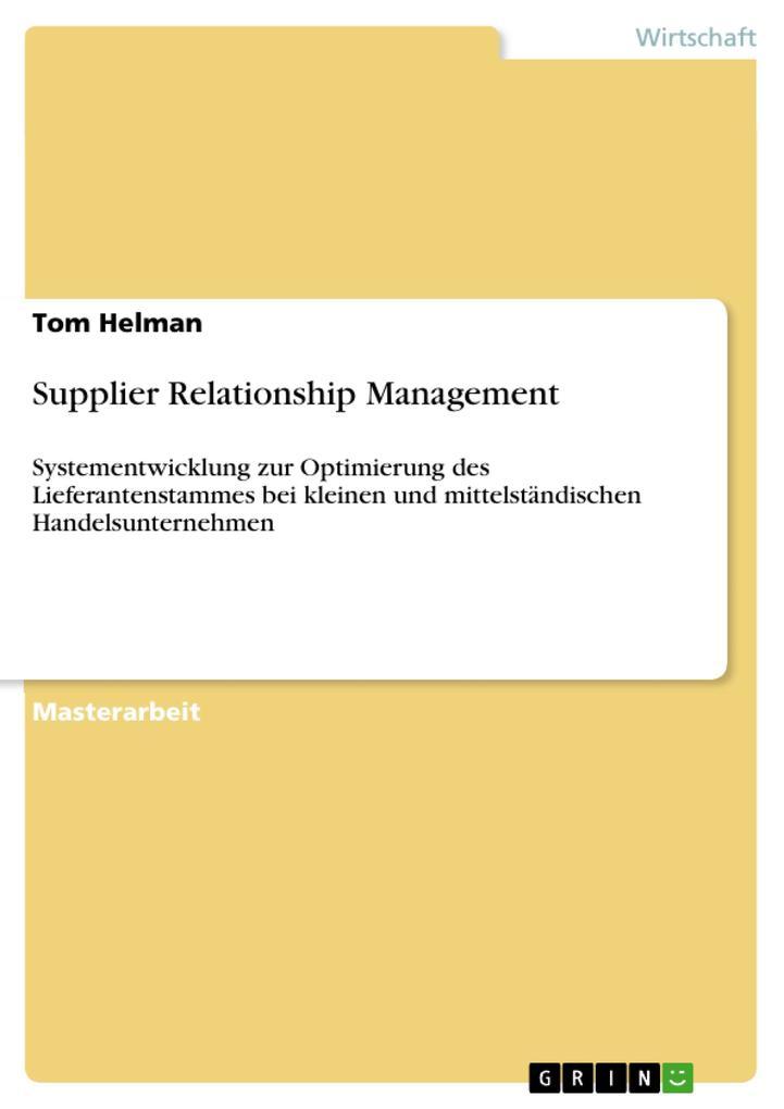 Supplier Relationship Management als eBook Down...