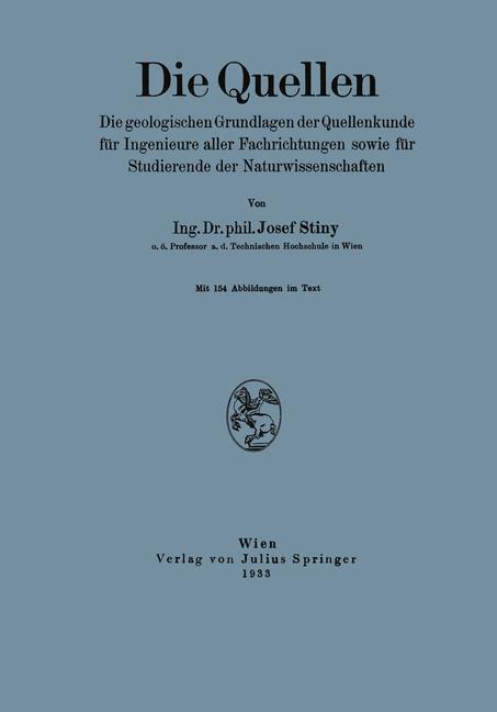 Die Quellen als Buch von Josef Stiny