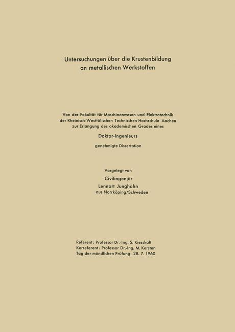 Untersuchungen über die Krustenbildung an metal...