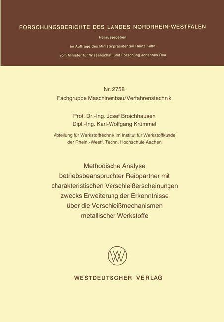 Methodische Analyse betriebsbeanspruchter Reibp...