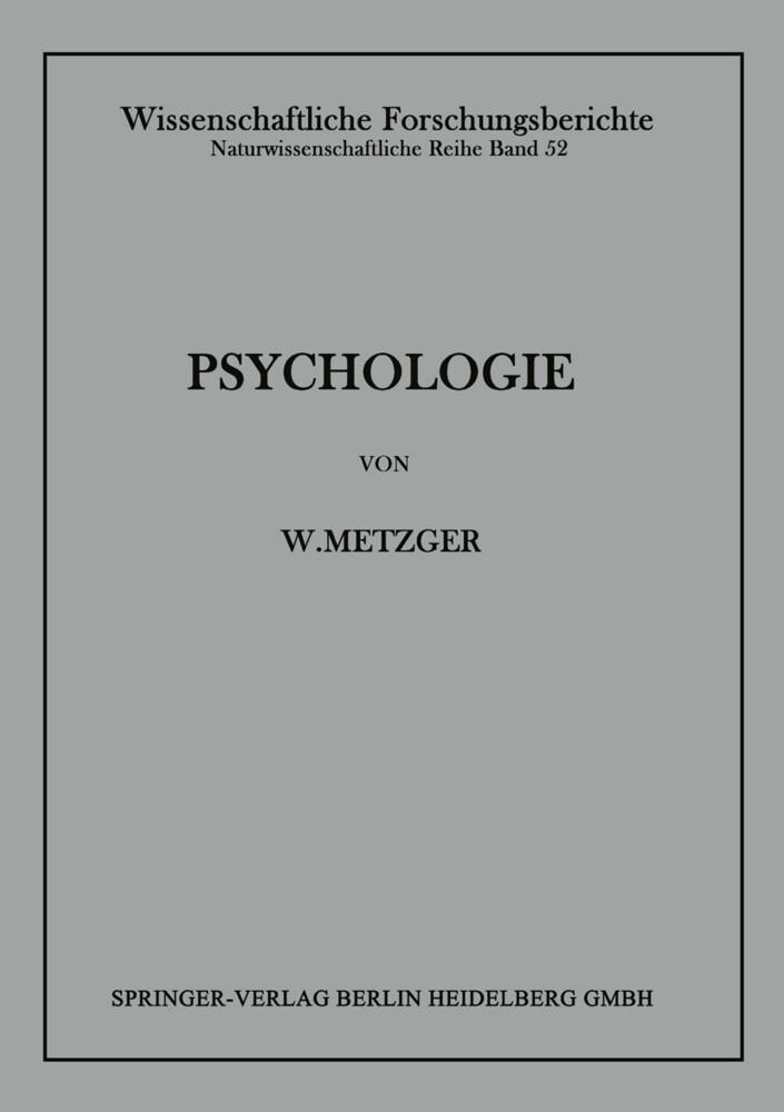 Psychologie als Buch von Wolfgang Metzger