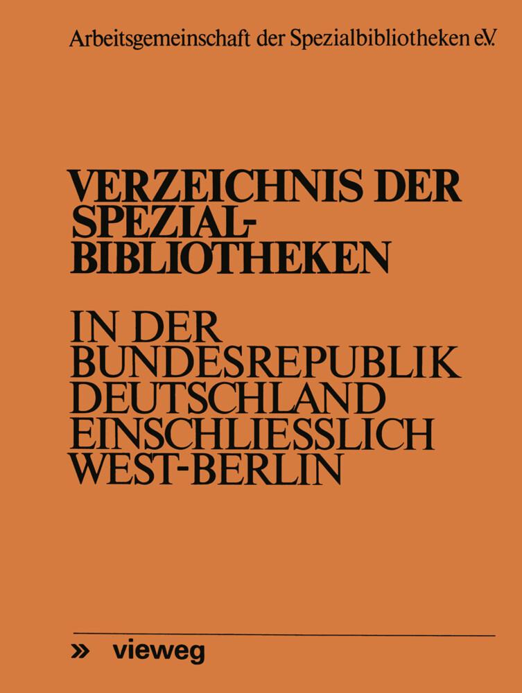 Verzeichnis der Spezialbibliotheken in der Bund...